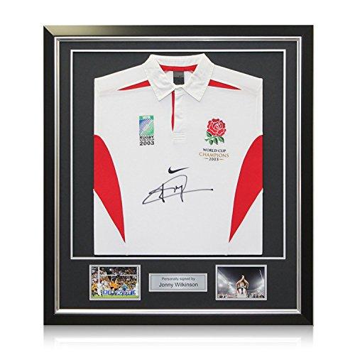 Jonny Wilkinson Signed Official England Rugby Jersey In Deluxe Black Frame With Silver - Wilkinsons Frames