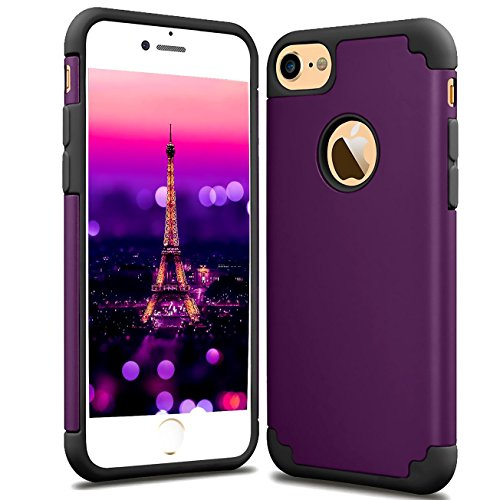 CaseHQ iPhone 6S Case,iPhone 6 Case,slim Dual Layer Silicone Rubber PC Protective Case Fit for iPhone 6 (2014) / 6S 4.7 inch (2015) Hybrid Hard Back Cover and Soft Silicone-dark purple black
