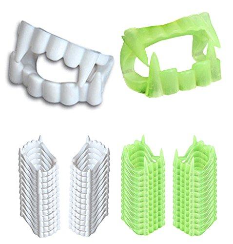 Vampire Teeth – 48 White Plastic Teeth and Glow in The Dark Teeth - Halloween Costume Accessories by Tigerdoe