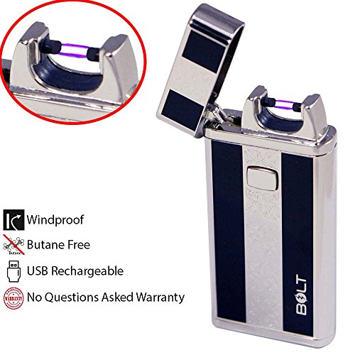 BOLT-Lighter-USB-Rechargeable-Windproof-Electric-Plasma-Arc-Cigarette-Lighter-with-Charging-Cable-and-Carrying-Pouch