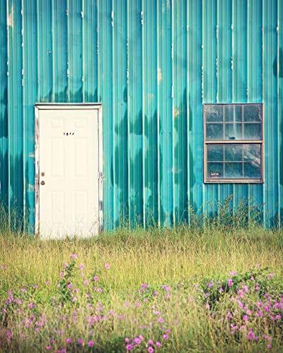 Amazon.com: TEAL BLUE Kitchen Art - Farmhouse Shed Photo ...