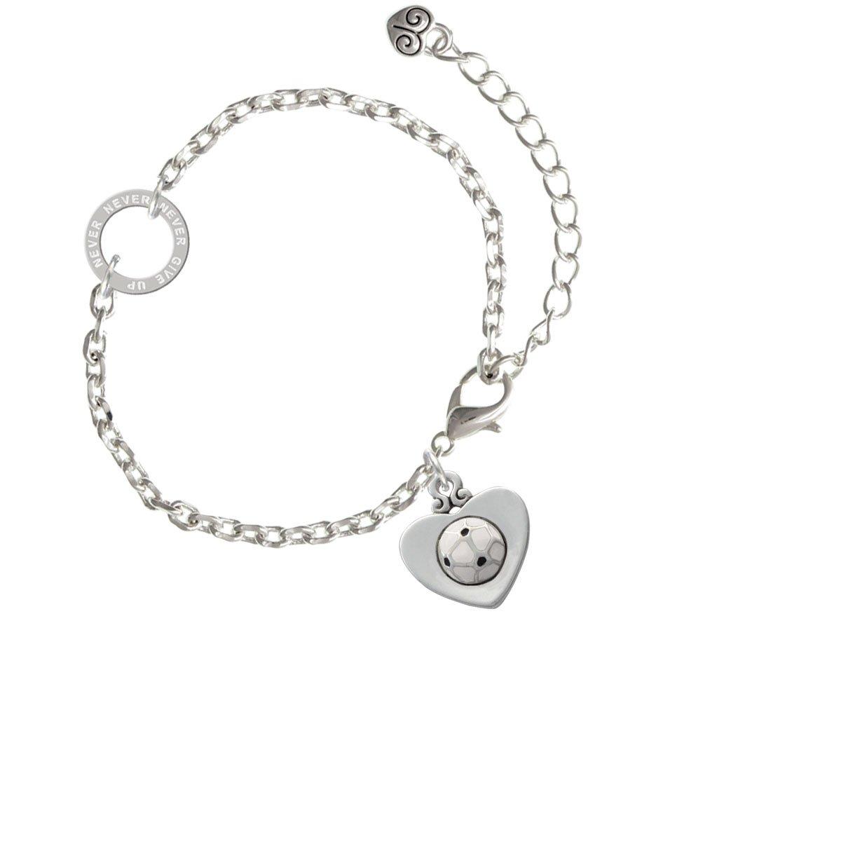 Balón de fútbol en corazón – nunca renunciar anillo pulsera de Zoe ...