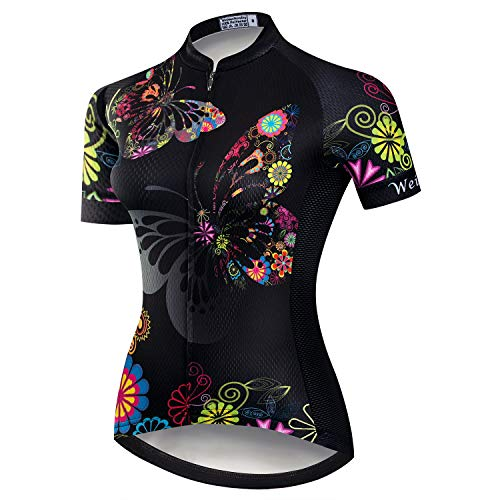 Women's Cycling Jersey Short Sleeve MTB Bike Bicycle Clothing Shirt Jacket Quick Dry Black Size L