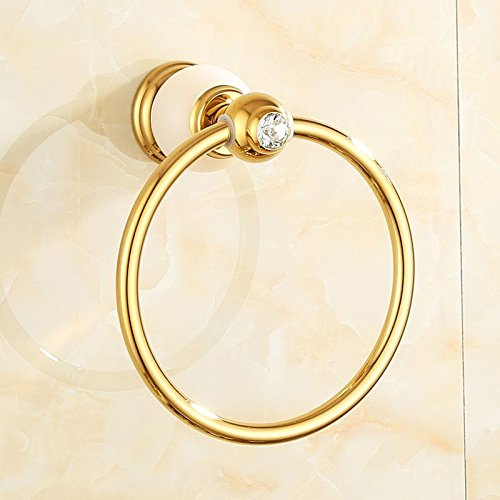 ZnzbztAll copper natural jade Bathroom Towel Ring towel rack bathroom hardware mounted in gold towel towel ring, and luxury white jade)