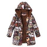 Oversize Coats for Women,Vanvler [Ladies Winter Warm Jackets] Floral Print Hooded Pockets Vintage Outwear