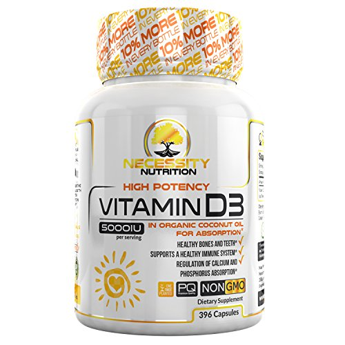 Vitamin D3 5000 IU Softgels Supplement 396 Capsules Gluten Free Made Organic Coconut Oil Non GMO Certified Supports Immune Function Strong Bone Health High Potency Cholecalciferol Calcium Benefits