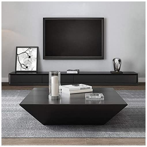 Living Room Homary Modern Living Room Wood Square Low Coffee Table, Coffee Table with Drawer Storage Drum (Black) modern coffee tables