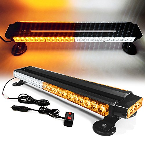 Ediors White Amber 26″ 54 LED Emergency Warning Security Roof Top Flash Strobe Light Bar with Magnetic Base, for Plow or Tow Truck Construction Vehicle