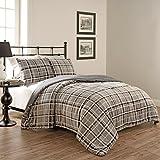 Beautyrest 15797BEDDF/QSMK Casimir Plaid 90-inch by 90-Inch 3-Piece Full/Queen Comforter Set, Smoke