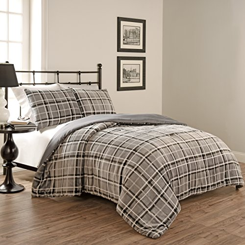Beautyrest 15797BEDDF/QSMK Casimir Plaid 90-inch by 90-Inch 3-Piece Full/Queen Comforter Set, Smoke - Plaid Comforter Sets