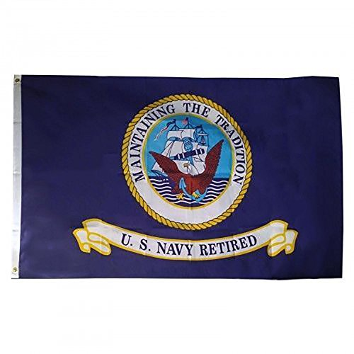 3x5 US Navy Retired Premium Quality Flag 3'x5' House Banner Grommets Vivid Color and UV Fade Resistant Canvas Header and polyester material
