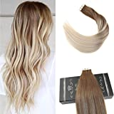 Cheap Ugeat 20inch Glue in Remy Hair Extensions Balayage Color Medium Brown Fading to Platinum Blonde Tape in Human Hair Ombre 40Pcs 100Gram Real Human Hair