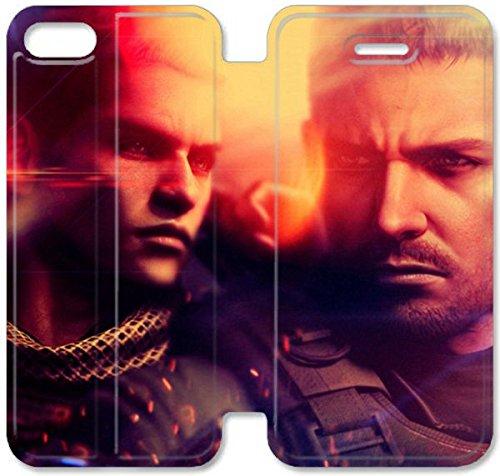 Flip étui en cuir PU Stand pour Coque iPhone 5 5S, bricolage 5 5S étui de téléphone cellulaire Resident Evil Chris Redfield Piers Nivans large Je D3F0ZE Camouflage Coque iPhone étuis en cuir