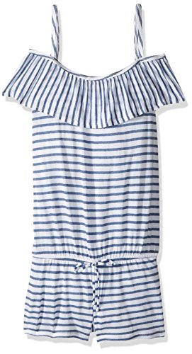 Splendid Big Girls' Chambray All Day Off the Shoulder Romper Cover up M, Blue, M