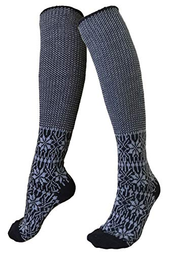 Knee High Socks: Pure Organic Virgin Wool Socks, Sizes 6-11.5 for Women and Men (EU 40-41, Denim/Natural) from EcoAble Apparel