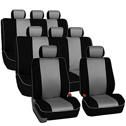 FH Group FH-FB063128 Three Row Cloth Car Seat Covers with Piping Airbag & Split Ready Gray/Black- Fit Most Car, Truck, SUV, or Van
