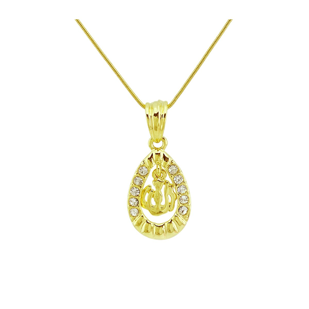 Passage 7 18K Real Gold Plated Allah Muslim Islamic Water Drop Pendant Necklace Chain Length 48CM