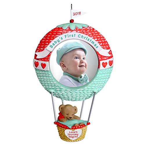 Hallmark Keepsake Ornament 2018 Personalized Year Dated, Baby's First Christmas Love's Journey Begins Picture Frame Photo, Hot Air Balloon