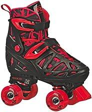 Roller Derby Trac Star Boy's Adjustable Roller Skate, Black/Red, Medium (12