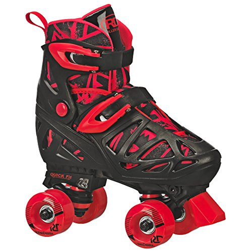 Roller Derby Trac Star Boy's Adjustable Roller Skate, Grey/Black/Red, Large (3-6) -