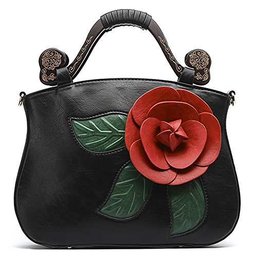 Rose Handbag Black PU Leather Shoulder QZUnique Chinese Retro Style 2 Bags Tote Flower Bags pwxqqZ1tz
