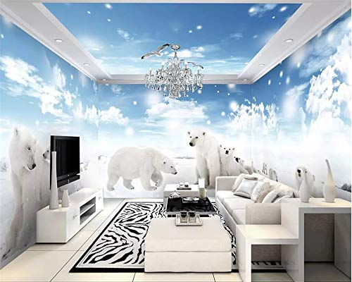 Wallpaper murals ice and Snow Polar Bear 3D Theme Space Full House Background Wall Paper Home Decoration 3D ()