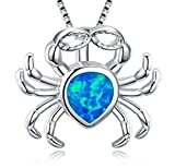 "Fortonatori Created Blue Opal Crab Necklace 925 Silver Pendant Necklace 17"" Chain"