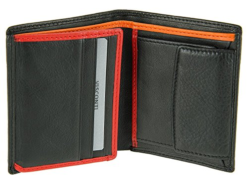 Visconti BD22 Mens Leather Trifold Leather Wallet (Black/Orange) ()