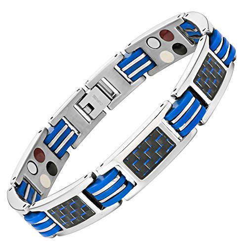 Willis Judd Blue Carbon Fiber Titanium Magnetic 4 Element Bracelet Double Strength Adjusting Tool and Gift Box Included