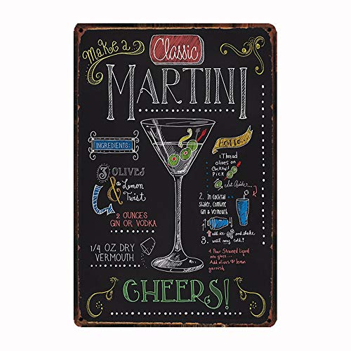 Decorative Wall Sign - How To Make A Classic Martini, Retro Embossed Metal Tin Sign, Wall Decorative Sign Cocktail 12