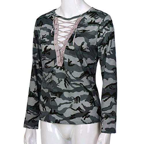 Femme Printemps Haut Shirts Automne V Mode Manches Sweat Longues Outdoor Chic Sangles Costume Loisir Elgante Cou Jumper Camouflage Gr Croises r5r4wx