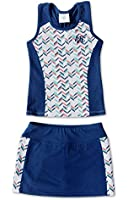 Girls Tennis Dress Set - With Sleeveless Racerback Top and Tennis Skirt with Undershorts