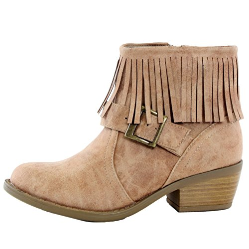 Suede Fringe High Nikita Boots Chunky Natural Heel Soda Stacked Ankle Booties S PxZqp77E