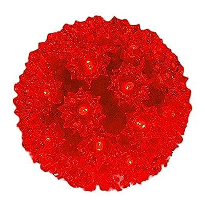"""50 Light Outdoor Christmas LED Starlight Sphere, Red, 6"""" Diameter"""
