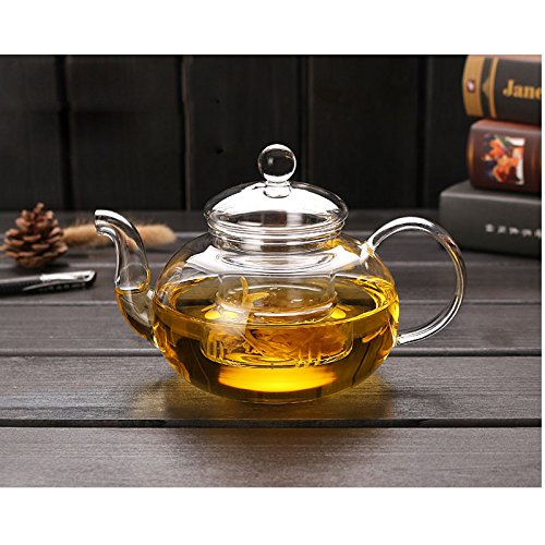 Cosy-YcY Glass Teapot With Infuser, Teapot With Strainer For Loose Tea, Tea Pot Can be Used On Stovetop (800ml/28oz) ()