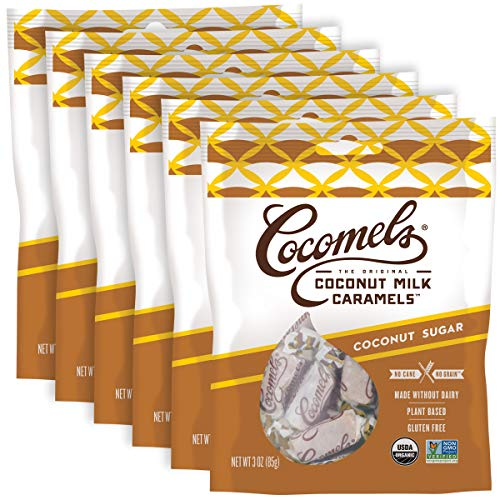 Cocomels Coconut Milk Caramels With Coconut Sugar, Organic Candy, Dairy Free, Sugar Free, Vegan, Gluten Free, Non-GMO, No Cane Sugar, No High Fructose Corn Syrup, Kosher, Plant Based, (6 Pack)