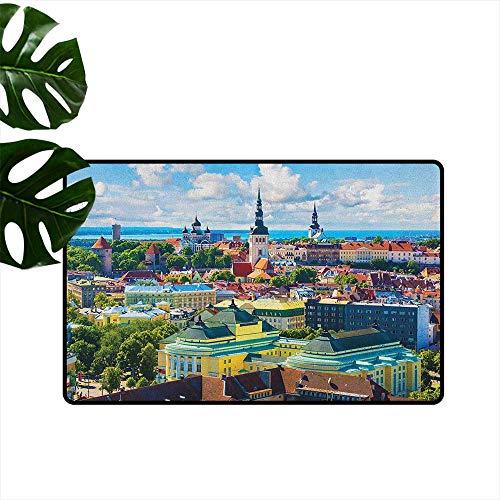 "LilyDecorH European,American Floor mats Scenic View Old Town Tallinn Estonia Ancient European Cathedral Architecture Print 31""x47"",Front Door mats"
