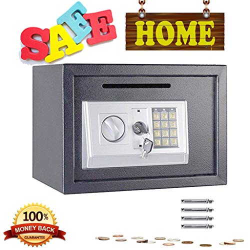 Digital Safe 16L Security Cash Money Box Steel Safe Combination Lock With Electronic Lock and Deposit Slot- Two…