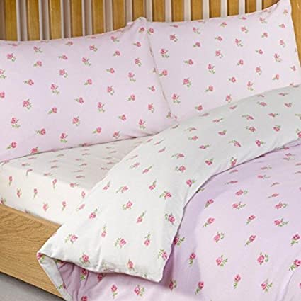 Litecraft Ditsy Floral 100 Cotton Fitted Bed Sheet Pink Single Amazon Co Uk Kitchen Home