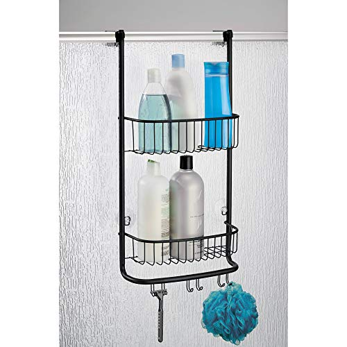 iDesign Forma Bathroom Over the Door Shower Caddy with Storage Baskets Shelves and Hooks for Shampoo, Conditioner, Soap, Matte Black (Shower Caddy Bronze Over The Door)