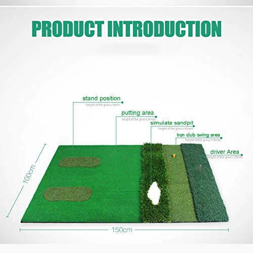 PGM Mutil-functional Golf Practice Mat Driving Range Golf Hitting Mat----3.3ftX4.92ft by PGM (Image #8)