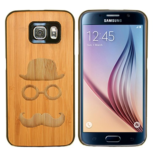 - Boho Tronics Bohobamboocases Natural Handmade Hardwood Bamboo Hat Glasses & Mustache Case for Samsung Galaxy S6