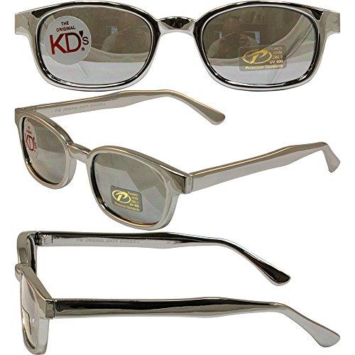 The Original KDs Biker Shades By PCSUN Chrome Frames Silver Mirror Lenses