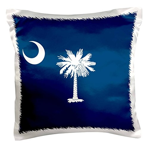 - 3dRose pc_158433_1 Flag of South Carolina SC Us American United State of America Use White Palmetto Tree Indigo Blue Pillow Case, 16