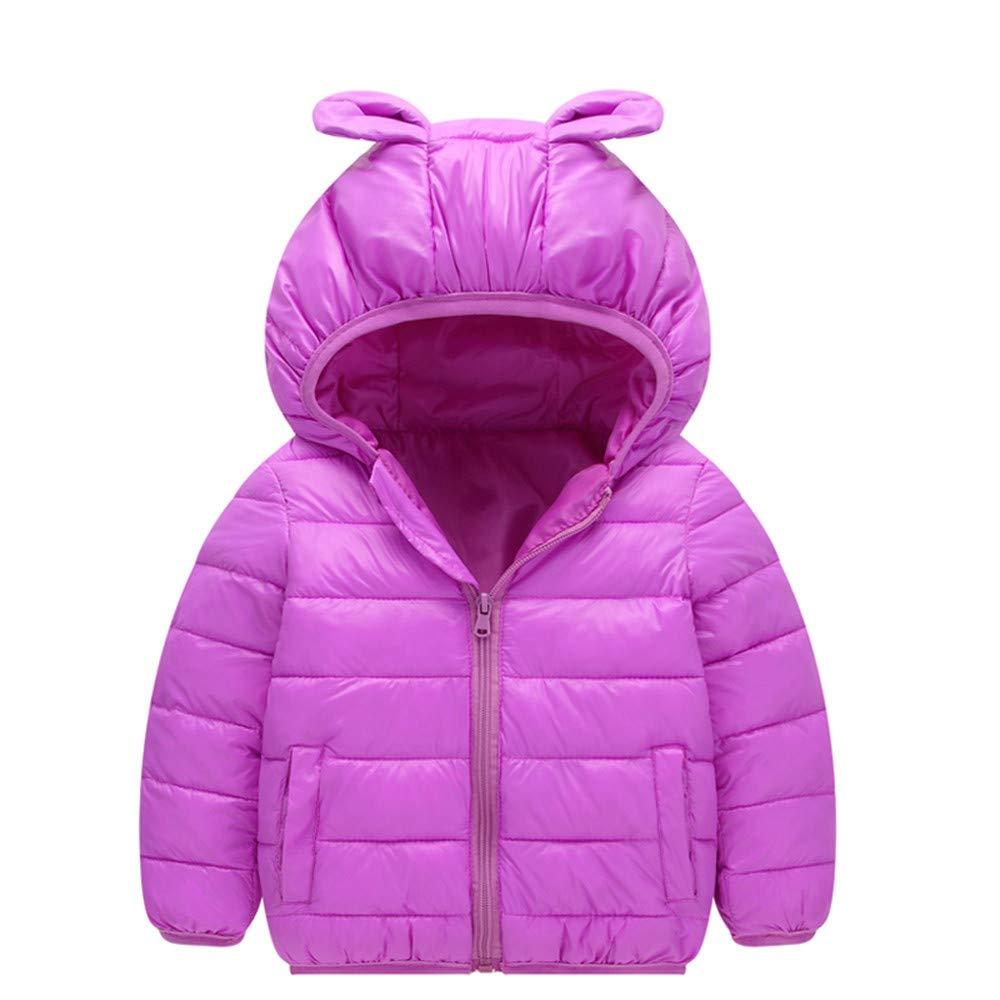 Winter Kids Warm Coat Clothes Baby Boys Girls Long Sleeved Cute Hooded Wadded Jacket (18-24 Months, Hot Pink) Fdsd