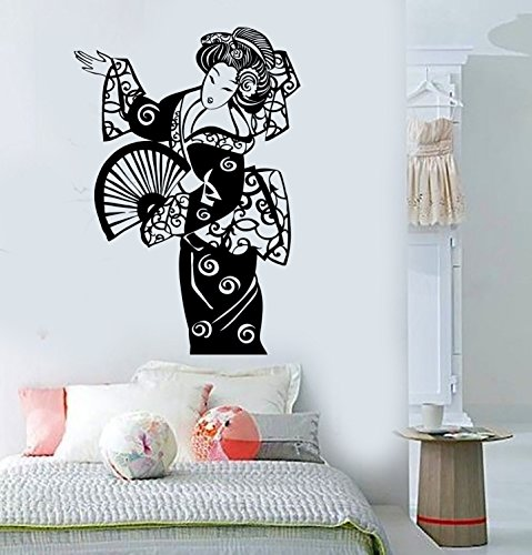 Vinyl Wall Decal Geisha Oriental Beauty Woman Asia Asian Stickers Large Decor (ig3855) (Asian Wall Decals)