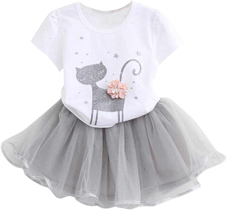 Orangeskycn Girls Summer Dress 2017 Summer Baby Girls Cartoon Little Kitten Printed Shirt Dress Clothes Set
