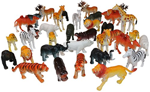 Set Of Mini Safari Toy Animals Small Zoo Animal Figures (36)
