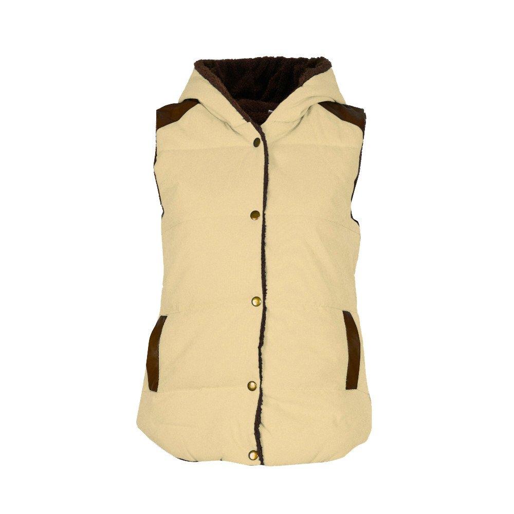 Womens Slim Fleece Warm Sleeveless Jacket Vest Hoodie Hooded Coat Waistcoat