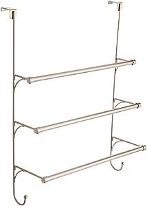 Franklin Brass 193153-FN Over the Door Triple Towel Rack with Hooks, Flat Nickel (Renewed)